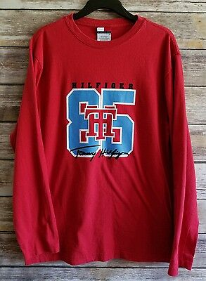 Men's Tommy Hilfiger Red Long Sleeve 85 Logo T-Shirt SZ Small