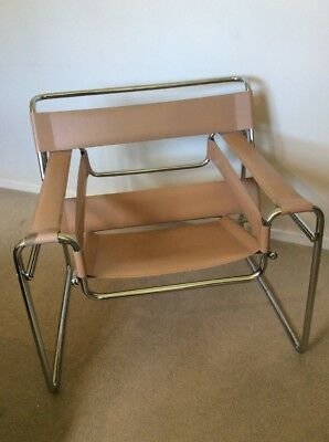 Vintage Wassily Marcel Breuer Beige Leather And Chrome Chair