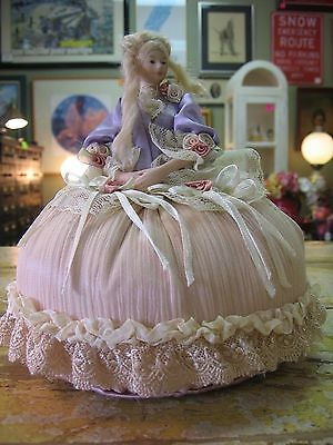 ANTIQUE BISQUE VICTORIAN HALF DOLL LADY PIN CUSHION Roses