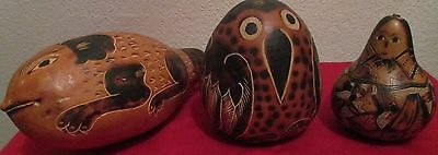 Vintage Peruvian hand-carved and hand-painted gourds, folk art from Peru