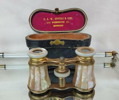 Antique Le Mieux French Opera Glasses Mother Of Pearl Paris France 1900's W/case