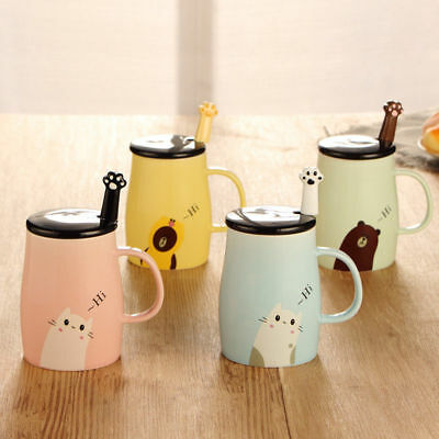 Cute Cat Glass Mug Cup Tea Cup Milk Coffee Cup Ceramics Office Gift+Spoon+Lid