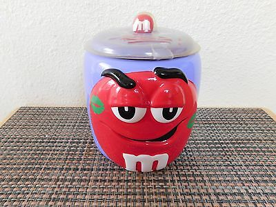 Collectible Red M&M Cookie Jar Candy Dish with Purple Background