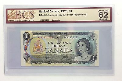 1973 Canada One 1 Dollar AA Prefix Replacement Uncirculated Graded Banknote B088