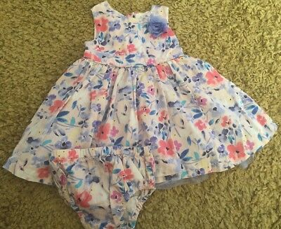 BHS Baby Girls Cute Pale Pink Blue Flower Dress Set With Pants Outfit 6-9 Months
