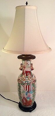 Chinese ROSE MEDALLION Antique Lamp Vase Famille Rose QING 19th Century~23.5""
