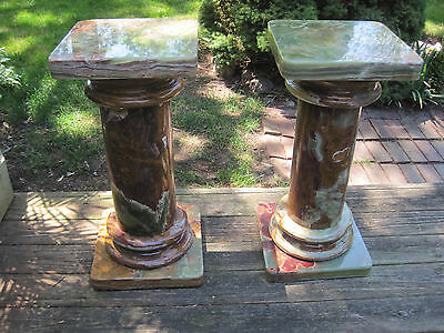 Beautfiul Pair of Estate Green Onyx Pedestals, Height: 30.5""