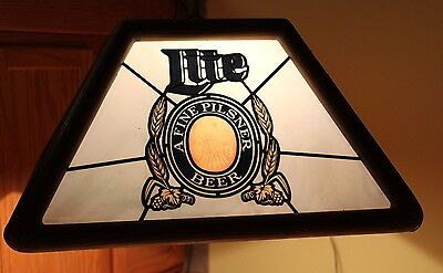 Vintage Miller Lite A Fine Pilsner Beer Card Poker Table Hanging Light 1982