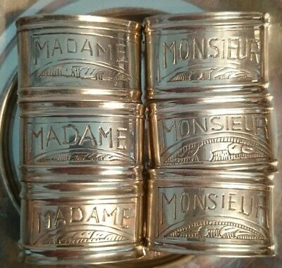 Set 6 Hand Engraved Silver Madame/Monsieur French Napkin Rings vintage/antique