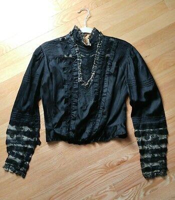 antique Large SZ Victorian mourning black silk lace blouse edwardian gothic auth