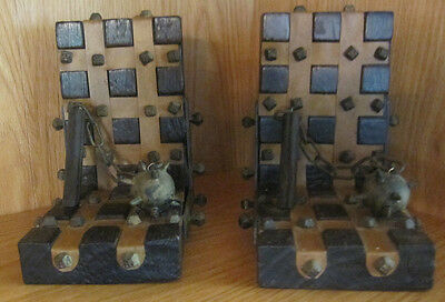 Vintage Medieval Style Striped Hobnail Leather/wood/metal Bookends With Mace