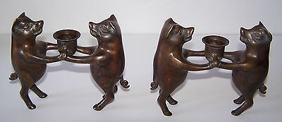 Pair of Vintage Bronze or Brass Pig Candlestick Holders.