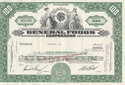 Mds Usa General Foods Corporation 100 Shares 1971 Common Stock
