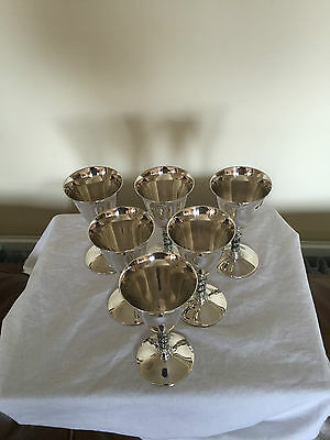 "6 Lovely Silver Plated Goblets With Decorative Stems 5.25"" Long On A 2.5"" Foot"