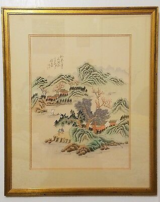 Old Chinese Painting Watercolor / Ink On Silk Of Landscape