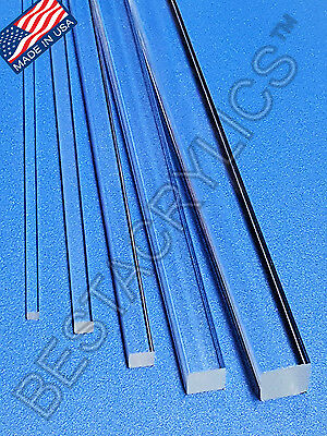 "5 PIECE 1"" x 1"" x 12"" INCH LONG SQUARE CLEAR ACRYLIC PLEXIGLASS LUCITE ROD 25mm"