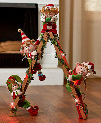 Holiday Lighted Decorative Elf Ladder With 4 Elves Christmas Home Decoration