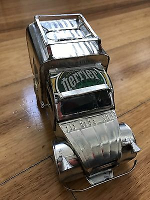 Handmade Perrier Toy Tin Truck