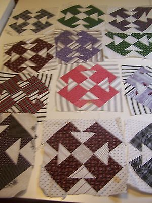 "12 ANTIQUE QUILT BLOCKS ""T-TIME"" OR ""KIMONO"", HAND PIECED 7.5"" SQ LATE 1800s"