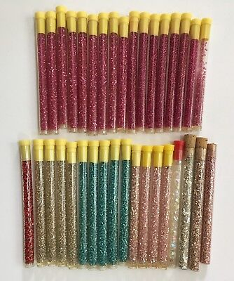 31 Tubes of Vintage / Antique Glass Seed Beads Fuschia Pink Ice Blue Clear 2116