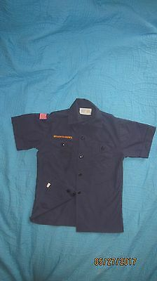 BSA Cub Scout Blue Uniform Shirt Size Youth MED SS 65%Poly/35%Cot Made in USA