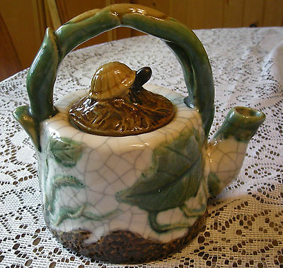 Vintage Crackled Stoneware Tea Pot with Turtle Lid  Made in China Very Unique