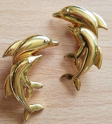Goldtone Leaping Dolphin Clip Earrings