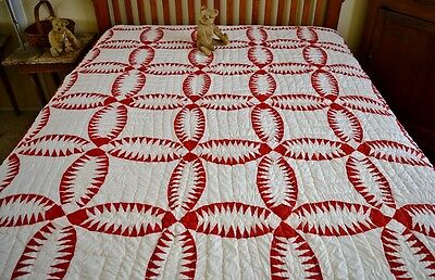 Bold Antique Hand Stitched Pickle Dish Quilt *