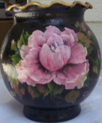 Hand Painted Rose Decorated Vase Small Round Floral