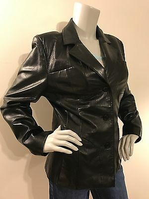 Wilsons Leather Women's Black Leather Coat Jacket Button Down LARGE