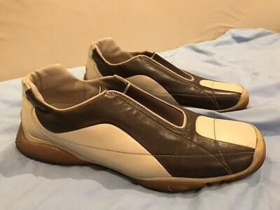 PRADA MEN'S  LEATHER SLIP-ON LOAFER CASUAL SHOES  Bowling Style Brown Tan Used