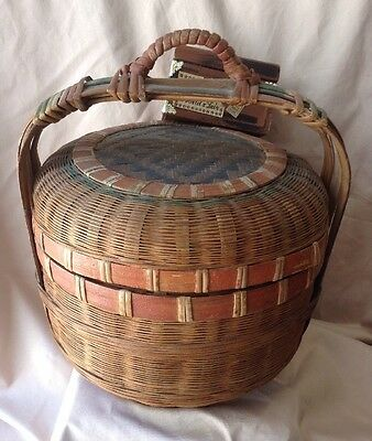 Antique 1900's Chinese Wedding Basket Hand Painted Bamboo Qing Dynasty Lunch Box
