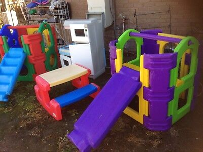 2 Play Gym Cubby House Pretend Kitchen Little Tikes Table