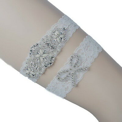 WHite Lace Wedding Bridal Garter Set Handmade With Crystal Applique