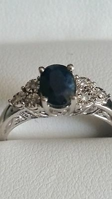 Sapphire and diamond ring in solid 10k white gold