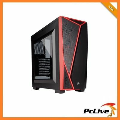 NEW Corsair Carbide SPEC-04 Mid Tower Gaming Case Quiet Side Window Black Red