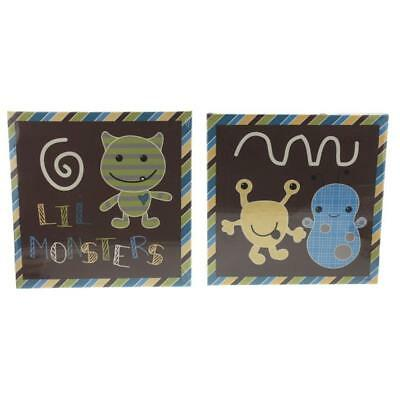 CoCaLo Baby 4233 Green Canvas Monsters 2PC Wall Decor Set BHFO