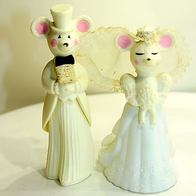 AVON Church Mouse Bride Church Mouse Groom Daisies Cologne Empty Bottles set