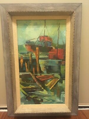 """Vintage Abstract Signed Painting """"Transition"""" by Betty Giles 1968 Boat Maritime"""