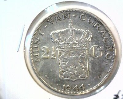 1944 D Curacao 2-1/2 Gulden Coin KM#46 Wilhelmina -Only 200K Minted - 60K Melted