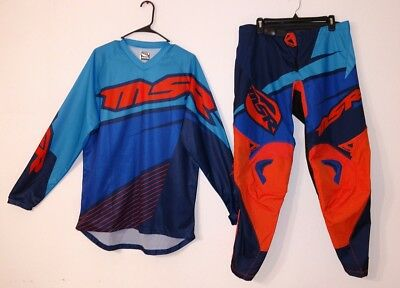 MSR Axxis Motocross Racing Adult 36 Pants & Large Jersey Matching Blue Orange