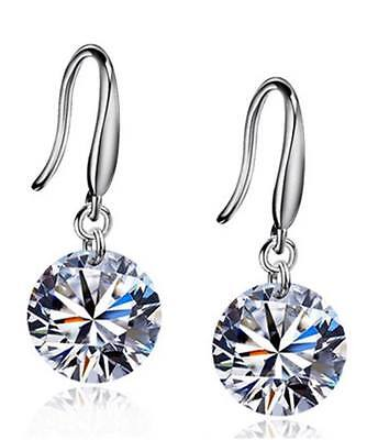 GORGEOUS SILVER colour DANGLE FINE fashion CLEAR CRYSTAL  ladies earrings girls