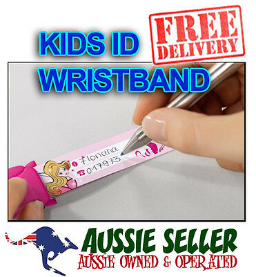 Sigel KIDS SAFETY ID WRIST BAND - 8 Designs to choose REUSABLE - FREE POST