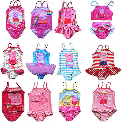 Girls Peppa Pig Swimwear Swimsuit Swimmers Bather Toddle Swim wear SIZE 2-7