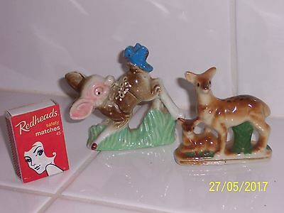 2 vintage retro bambi figurines made in japan