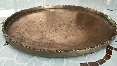 Chinese Antique Engraved Brass Tray