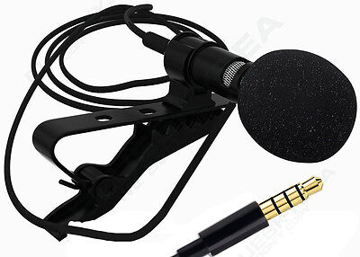 Portable 3.5mm Tie Clip on Lapel Lavalier Microphone Handsfree Mic For Samsung