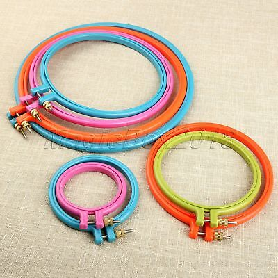 "Round Plastic Cross Stitch Machine Embroidery Frame Hoop Ring 3""-10"" Sewing Tool"