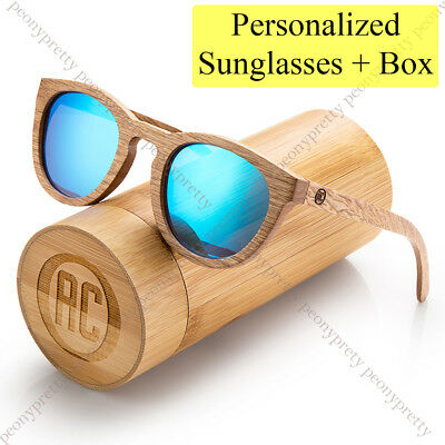 Personalised Bamboo Wooden Sunglasses Mirrored Lens Groomsmen Birthday Gift w