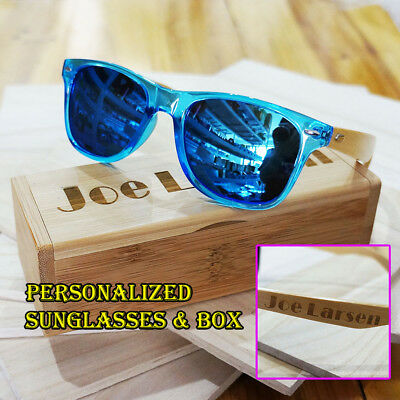 Personalised Engraving Bamboo Wood Mirrored Sunglasses Groomsmen Birthday Gift g